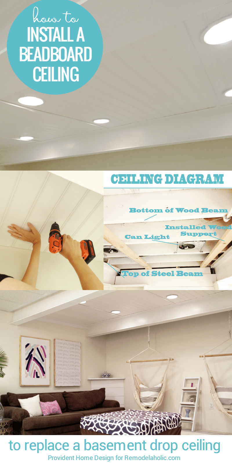 Famous Remodelaholic | DIY Beadboard Ceiling To Replace a Basement Drop  TS77