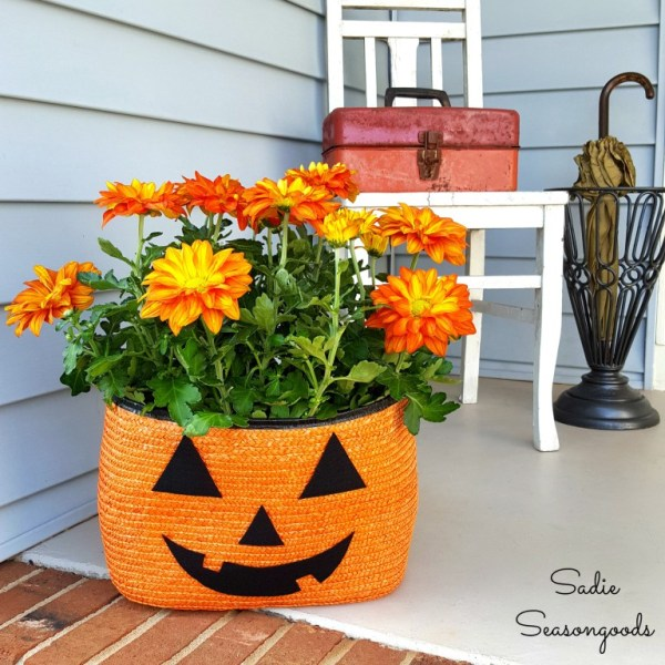 Orange Straw Tote Turned Pumpkin Planter Sadie Seasongoods