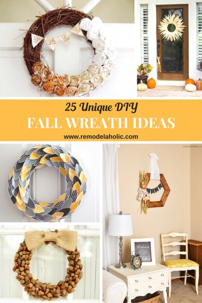 Dress up your door for fall with one of these Unique DIY Fall Wreaths featured on Remodelaholic.com