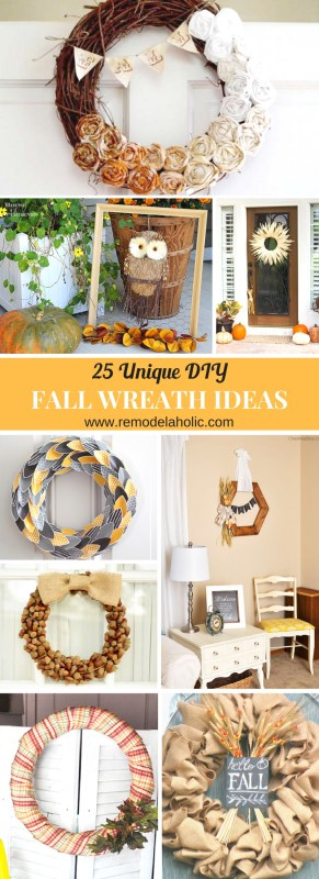 25 Unique DIY Fall Wreath Ideas and where to find them featured on Remodelaholic.com #wreaths #wreathideas #falldecor