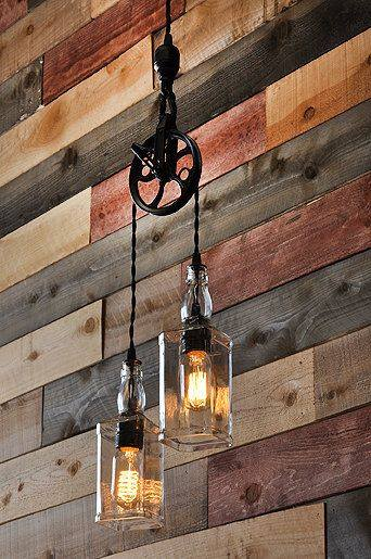 Unique Rustic Diy Light From Old Bottles Via Etsy