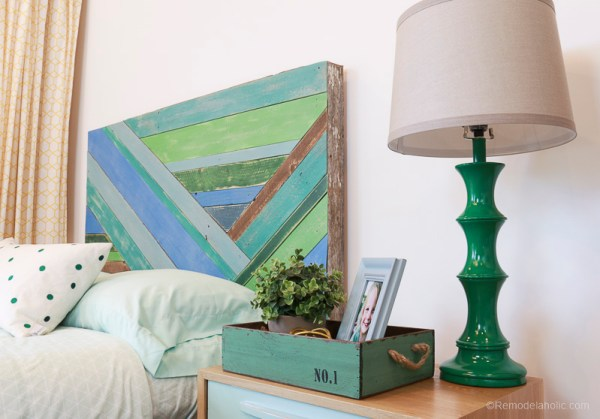 DIY Wall Decor for Large Walls: Wood Pieced Headboard Painted With Annie Sloan Chalk Paint