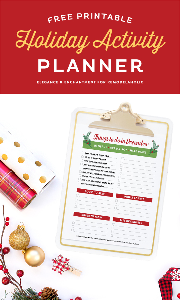 remodelaholic free printable holiday activity planner