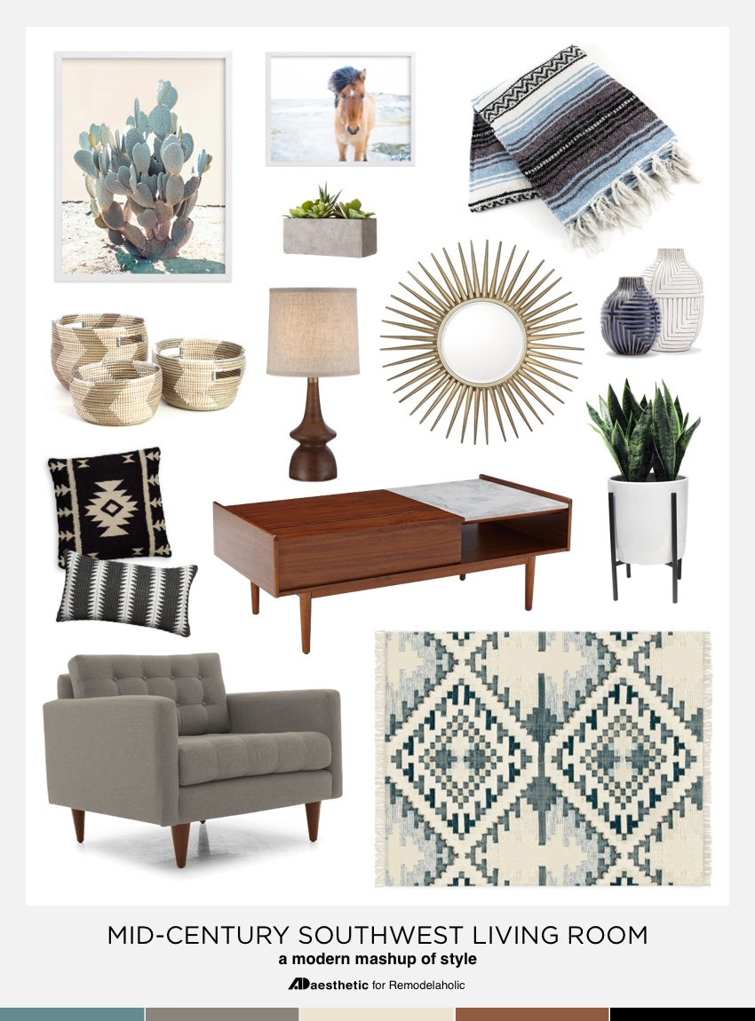 Explore a beautiful, comfortable combination of styles with this Southwestern Mid-Century Mashup mood board. Plenty of inspiration plus tips for making it work in your home from AD Aesthetic on Remodelaholic.com