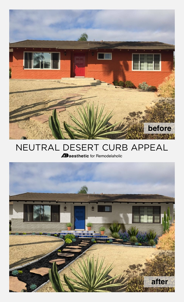 "Southwestern stucco doesn't have to be ""adobe orange"" -- get some neutral desert curb appeal inspiration and ideas with this beautiful virtual makeover by AD Aesthetic on Remodelaholic.com"