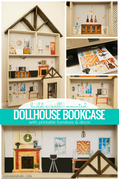 Build Magnetic Wall Mounted Dollhouse Bookcase Woodworking Plans With Printable Furniture And Decor #remodelaholic