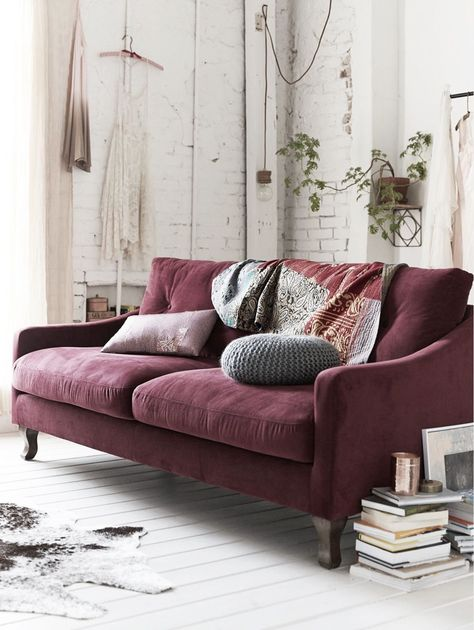 Perfect Decorating A Neutral Living Room, With A Maroon Couch