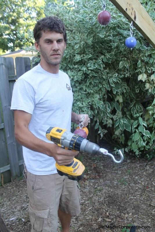 9 DIY Ninja Course, How To Install An Eyebolt Using A Drill And Hook, By Girl Meets Carpenter Featured On @Remodelaholic