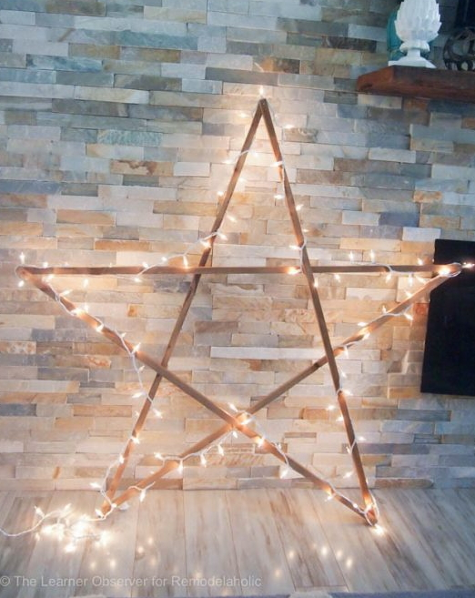 DIY Large Rustic Wood Star With Lights For Under 5