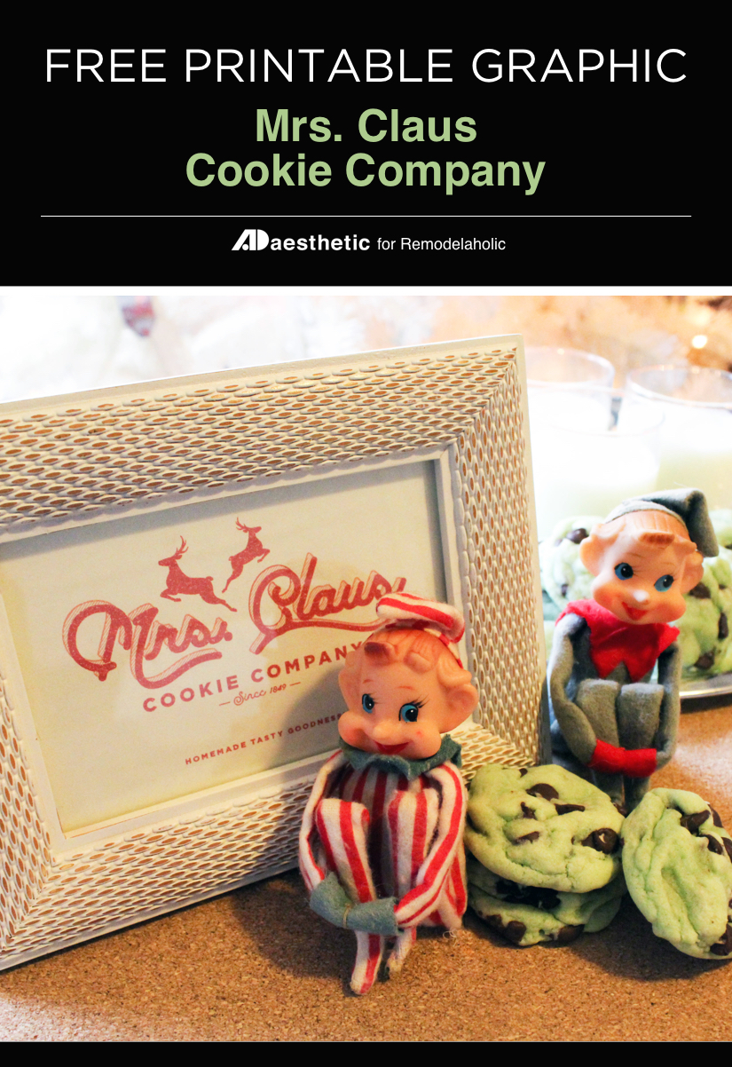 Create a festive cookie party with this easy Christmas printable of the Mrs. Claus Cookie Company -- print it for easy decor, or as a label for your holiday treats. Free Printable Graphic • AD Aesthetic For Remodelaholic.com