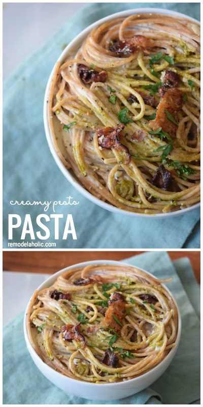 The Perfect easy comfort food recipe for dinner. Creamy Pesto Pasta with only 6 ingredients cia Remodelaholic.com