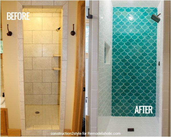 Before And After Moroccan Fish Tile Shower