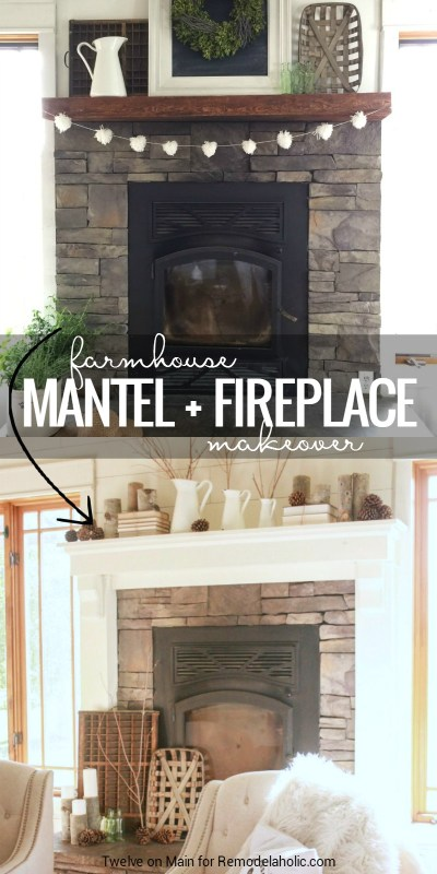 Give a stone fireplace and wood mantel a farmhouse style makeover! Details from Twelve on Main at Remodelaholic.com