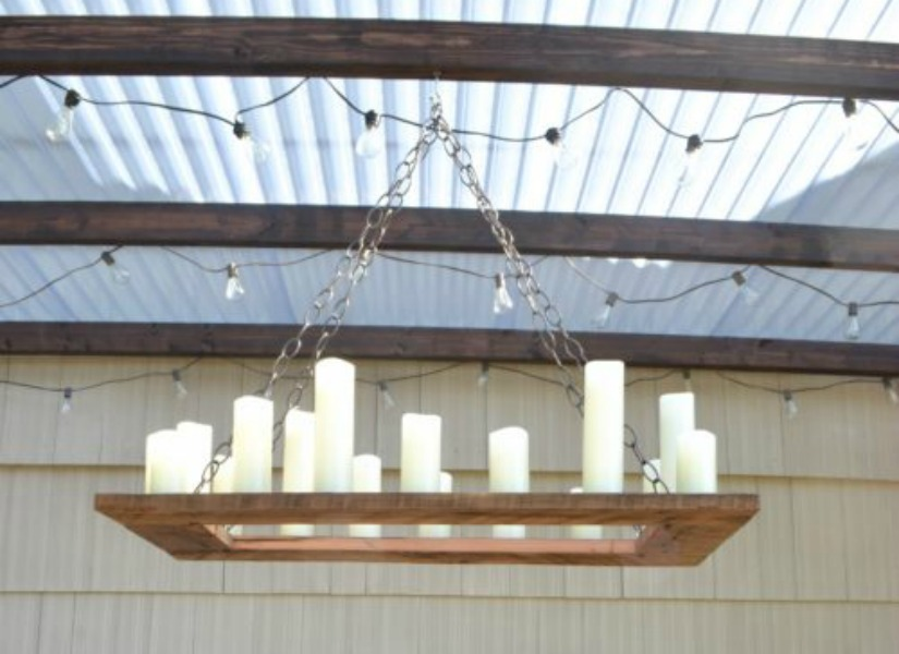 own rustic candle outdoor chandelier