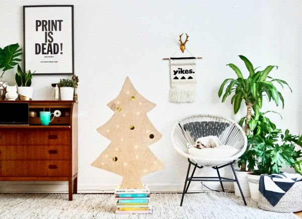 Feat Easy Minimalist Scandinavian Style DIY Lighted Plywood Christmas Tree, Best Friends Pizza Club Featured On @Remodelaholic - Make your own DIY Christmas Decor Ideas featured on Remodelaholic.com