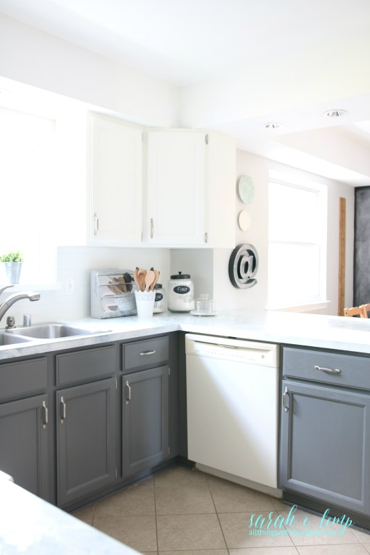 Gray And White Farmhouse Kitchen Diy Update, All Things With Purpose Featured On @remodelaholic