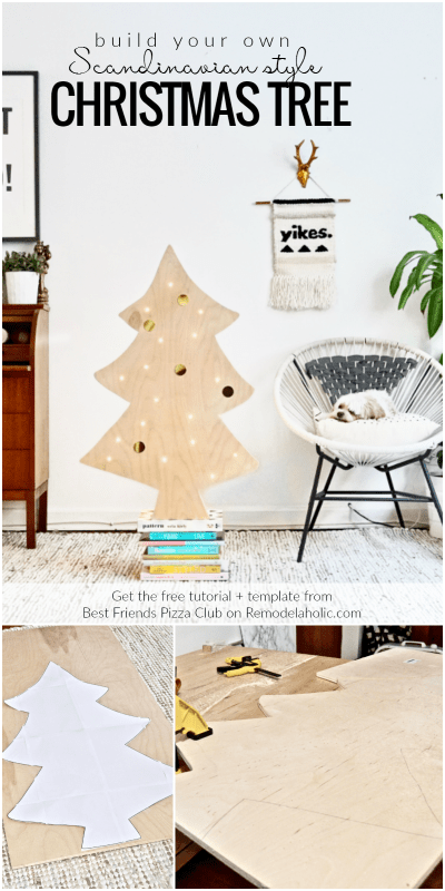 How To Build A Simple Scandinavian Style DIY Plywood Christmas Tree With Lights, Best Friends Pizza Club Featured On @Remodelaholic