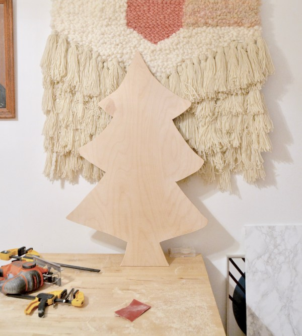 How To Build An Easy DIY Plywood Christmas Tree With Lights, Best Friends Pizza Club Featured On Remodelaholic