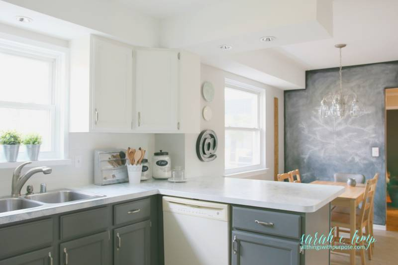 Oak Kitchen Updated With Paint And Shiplap Backsplash, All Things With  Purpose Featured On @