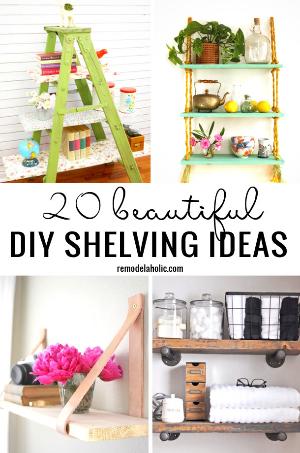 Looking for an easy and frugal way to decorate walls within your home? Start here with these 20 Beautiful DIY Shelving Ideas Remodelaholic.com