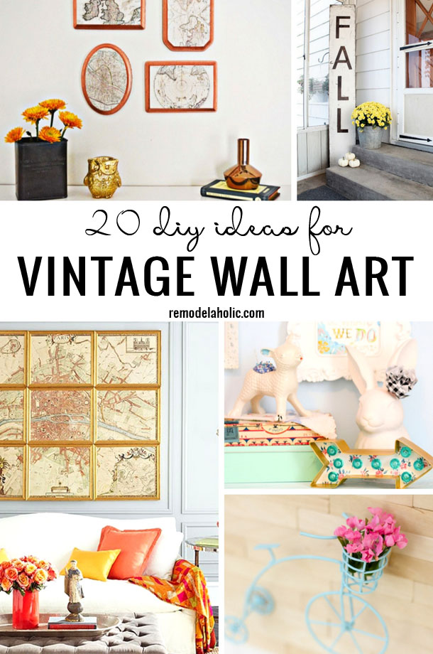 Find the perfect way to dress up your walls in a vintage style. 20 DIY Ideas For Vintage Wall Art featured on Remodelaholic.com