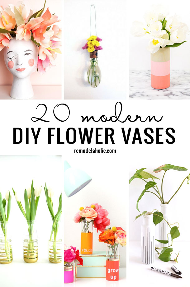 Flowers are a great way to add something bright to your home. Display them in one of these 20 Modern DIY Flower Vases featured on Remodelaholic.com