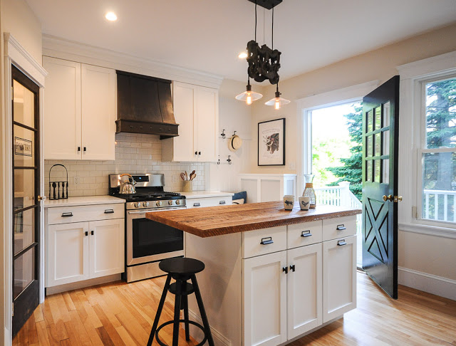 6 Total Kitchen Remodel With Custom Range Hood, Glass Door Pantry, And Reclaimed Wood Island, By SoPo Cottage Featured On @Remodelaholic