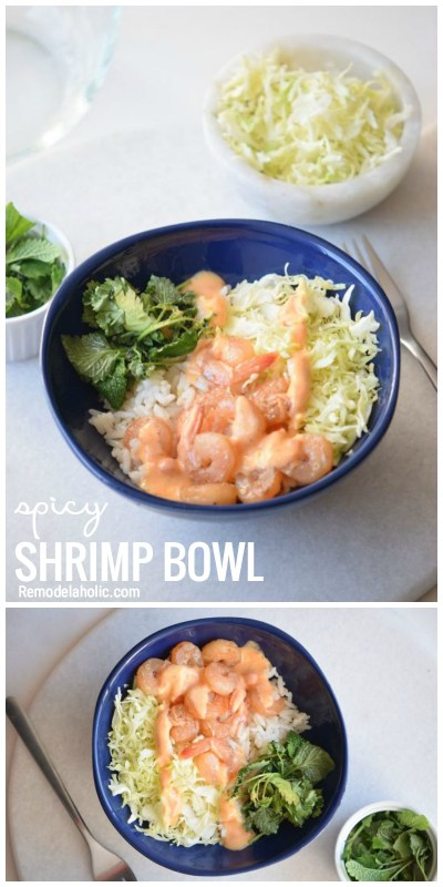 Looking For A Yummy And Easy Recipe Try This Spicy Shrimp Bowl Via Remodelaholic.com