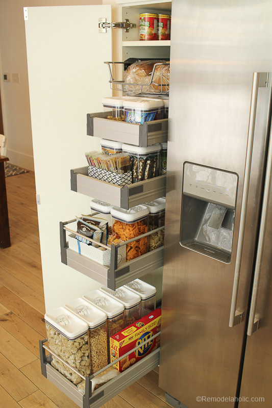Pantry Organization | Keep all your food organized and fresh with clear containers and a little bit of organization via Remodelaholic.com