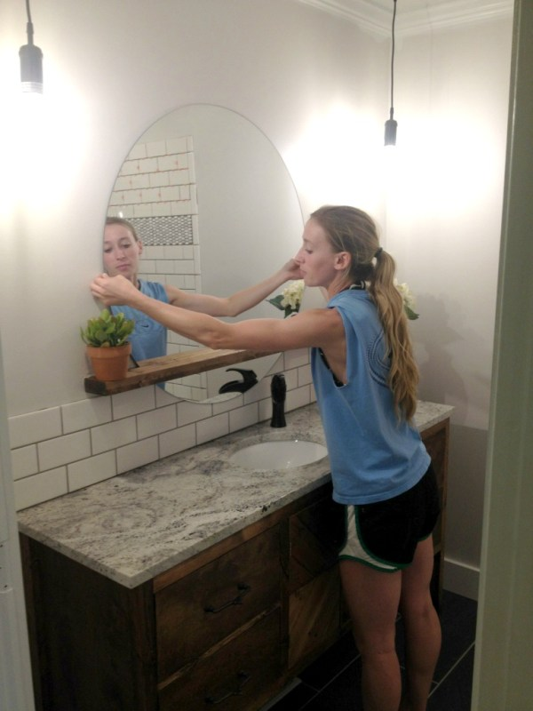 Diy Sunrise Floating Mirror And Shelf, Woodshop Diaries Featured On @remodelaholic