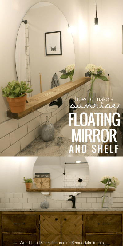 Diy Tutorial, Modern Round Sunrise Floating Mirror And Shelf For A Bathroom Vanity, Woodshop Diaries Featured On @remodelaholic