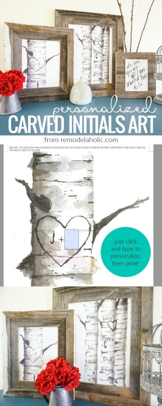 Free Personalized Birch Tree Carved Initials Art Print Set From @Remodelaholic