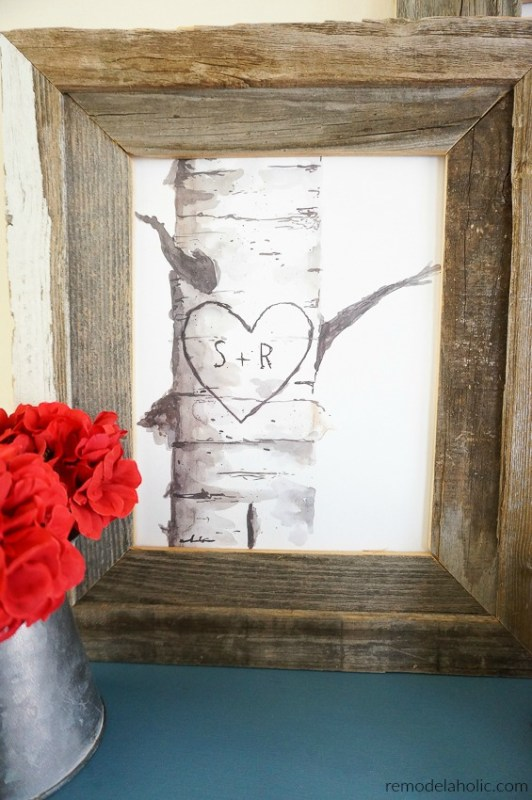 Printable Birch Tree Art With Couple's Custom Carved Initials   Great for a wedding or housewarming gift, baby shower or nursery decor, or year-round Valentine's Day decorating #remodelaholic