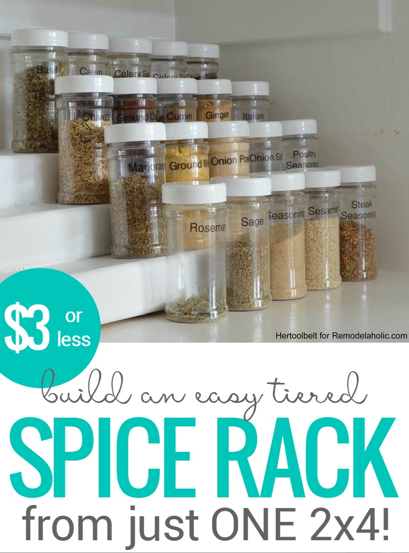 How To Build An Easy Tiered Spice Rack For Three Bucks Or Less   pantry organizing  sc 1 st  Remodelaholic & Remodelaholic   How to Build an Easy Tiered Spice Rack