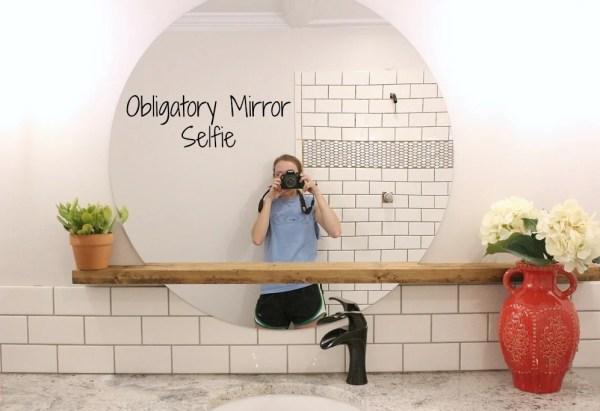 Modern Bathroom Round Sunrise Floating Mirror DIY, Woodshop Diaries Featured On @remodelaholic (3)