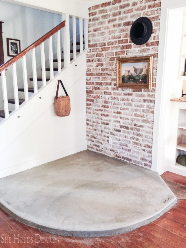 12 Farmhouse Renovation With DIY Concrete Hearth, By She Holds Dearly Featured On @Remodelaholic