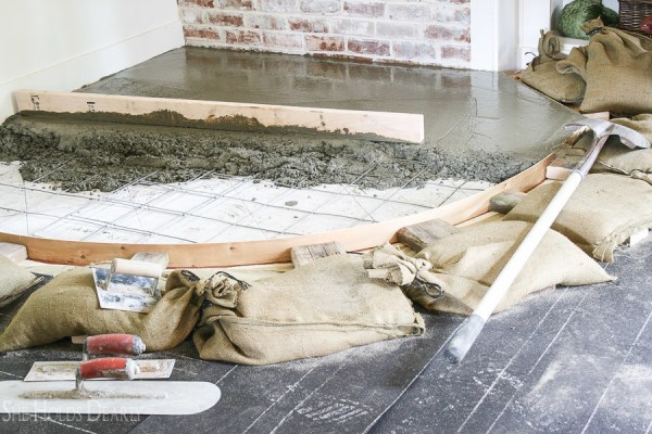 8 Lay Concrete In Your Home For A Rustic But Modern Hearth! By She Holds Dearly Featured On @Remodelaholic