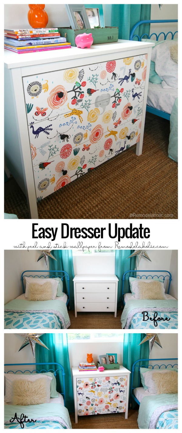 DIY Ikea Dresser Hack Updating With Wallpaper @remodelaholic 2
