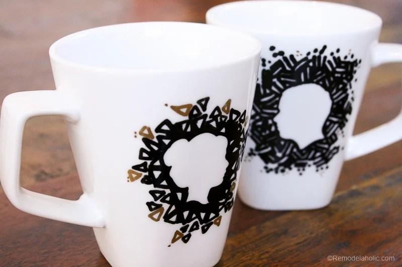 DIY Valentine Silhouette Mugs Gift Idea 2