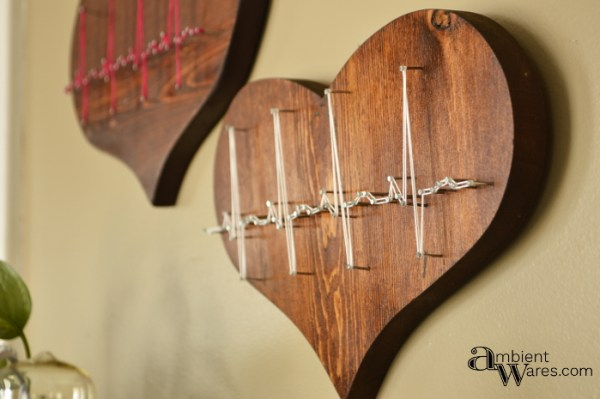 Finished Wooden Heart Wall Hangings With Heartbeat String Art Www.ambientwares.com