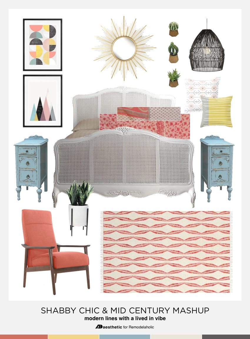 Shabby Chic Mid-Century Style Mashup | A bit of rustic style, a bit of vintage style, and a whole lot of color! Remodelaholic.com