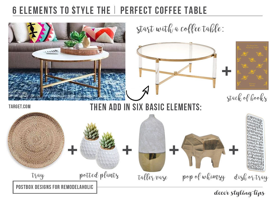 Decorating a coffee table can be both magazine-beautiful and practical for family life. Just use this easy 6-step formula to style the perfect coffee table arrangement.