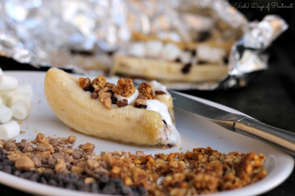 Don't want to build a fire, but want a s'more dessert? Try this take on s'mores, Grilled Banana S'mores by 365ish Days of Pinterest.