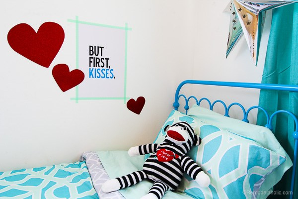 Printable Love Wall Art: Blue Valentine's Day Printable But First Kisses Poster And Matching Cards