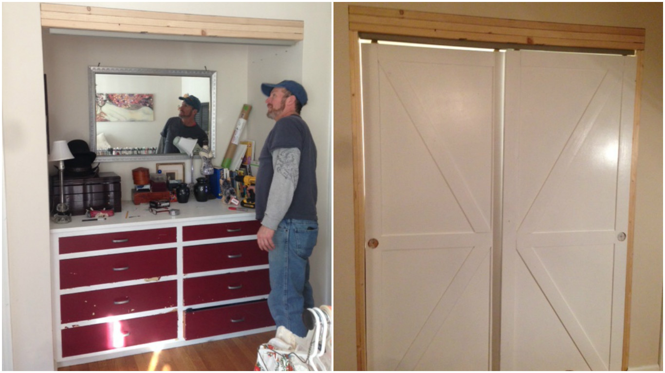 Remodelaholic How To Make Bypass Closet Doors Into Sliding Faux Barn Doors