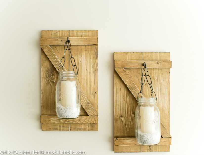 Remodelaholic Diy Rustic Mason Jar Candle Holder