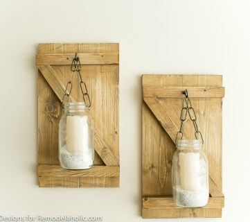 DIY Rustic Mason Jar Candle Holder