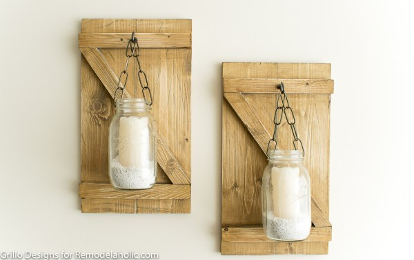How To Make A Rustic Hanging Mason Jar Candle Holder or Vase | Farmhouse Style Wall Decor | DIY Tutorial