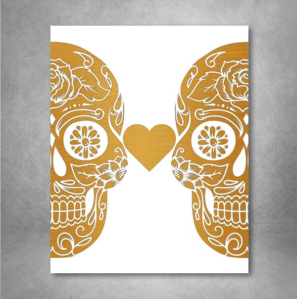 Non Traditional Valentine's Day Art Print, Gold Foil Sugar Skulls