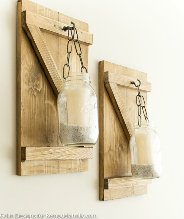 Wooden Mason Jar Candle Hangers, How To Make A Rustic Hanging Mason Jar Candle Holder or Vase | Farmhouse Style Wall Decor | DIY Tutorial